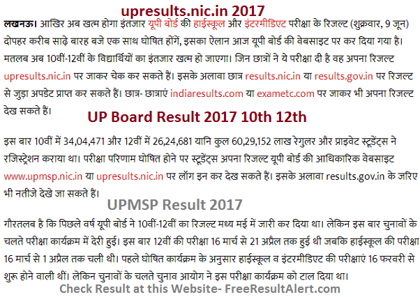 upresults.nic.in 2017