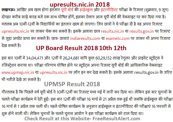 upresults.nic.in 2018