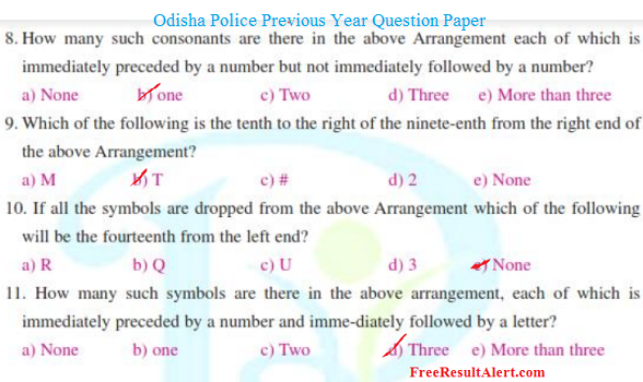 Odisha Police Previous Year Question paper