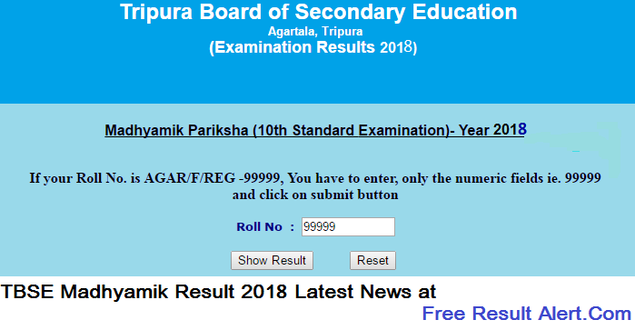 TBSE Madhyamik Result 2018