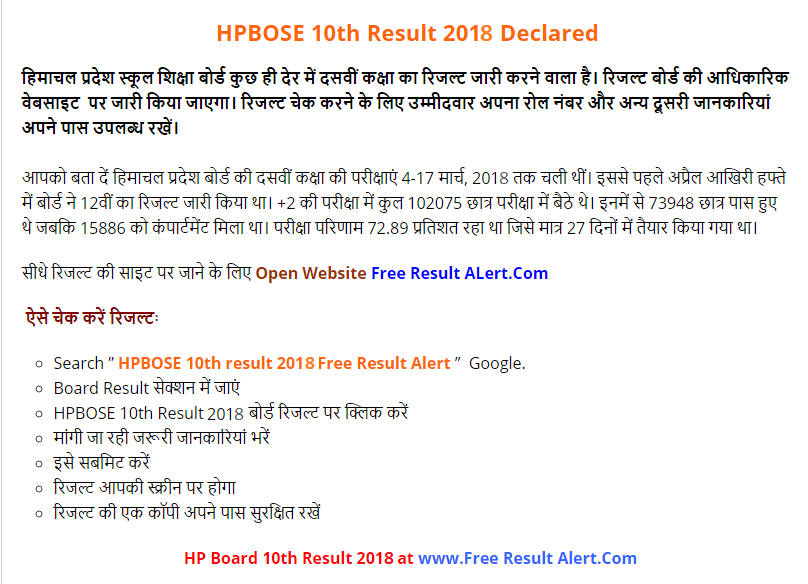 HPBOSE 10th Result 2018
