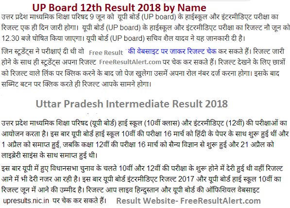 up board 12th result 2018 by name