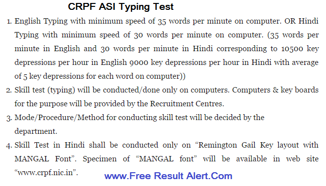 CRPF ASI Steno Answer Key 2019