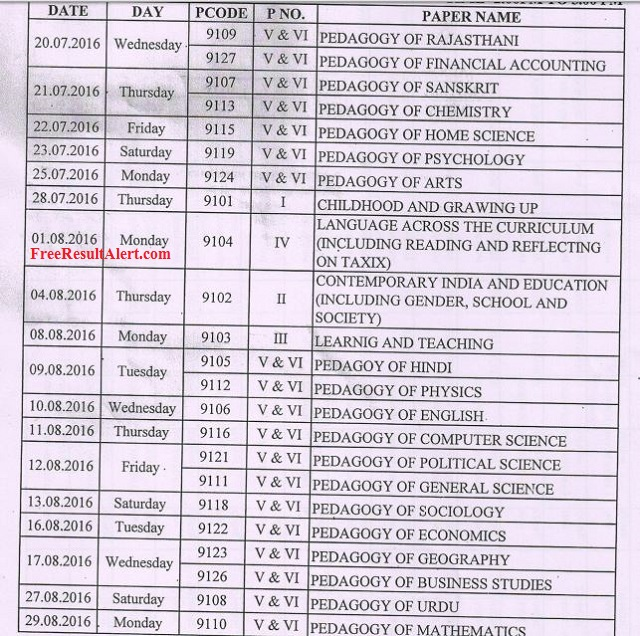MLSU B.ed. 1st 2nd Year Time Table 2018 Download