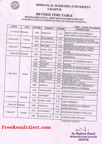 MLSU Udaipur Previous Year Time Table 2019 Download