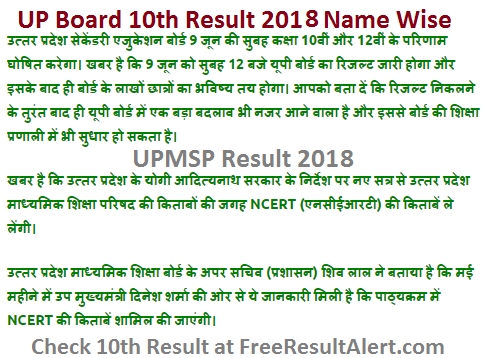 UP Board 10th Result 2018 Name Wise