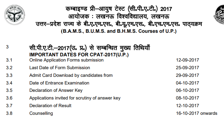 UP CPAT Result 2018