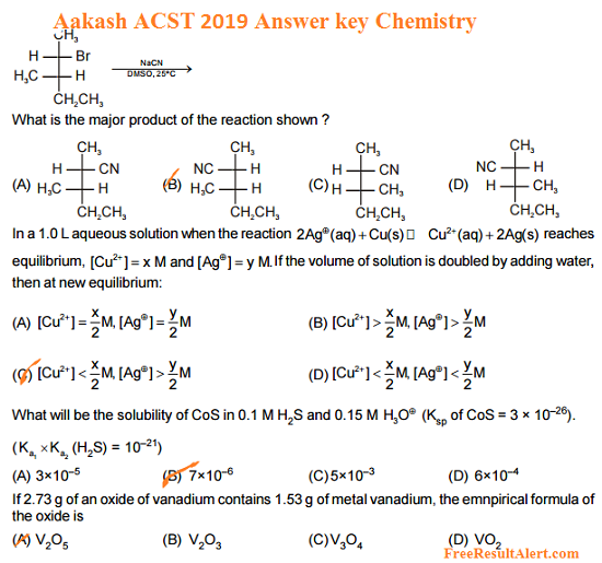 Aakash ACST Answer key pdf 2019