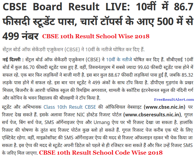 CBSE 10th Result School Wise 2018