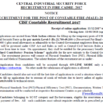 CISF Constable Recruitment 2017