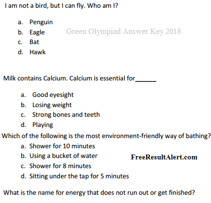 Green Olympiad Answer Key 2019 by TERI Question Paper