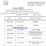 JKBOSE 10th Date Sheet 2018