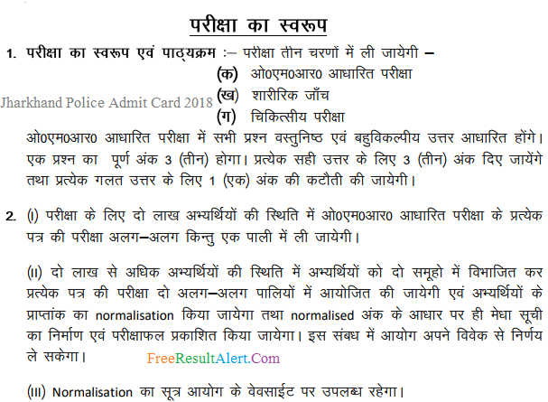 Jharkhand Police Admit Card 2018