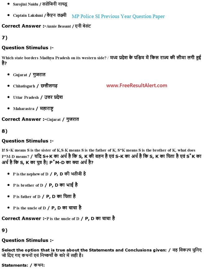 MP Police SI Answer Key 2018