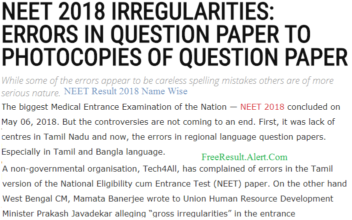 NEET Result 2018 Name Wise