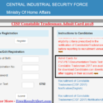 CISF Constable Tradesman Admit Card 2018