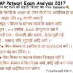 MP Patwari Exam Analysis 2017