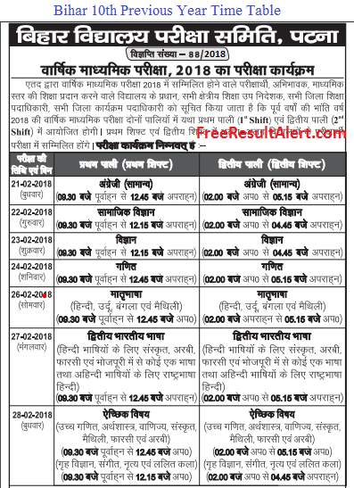 Bihar 10th Time Table 2019