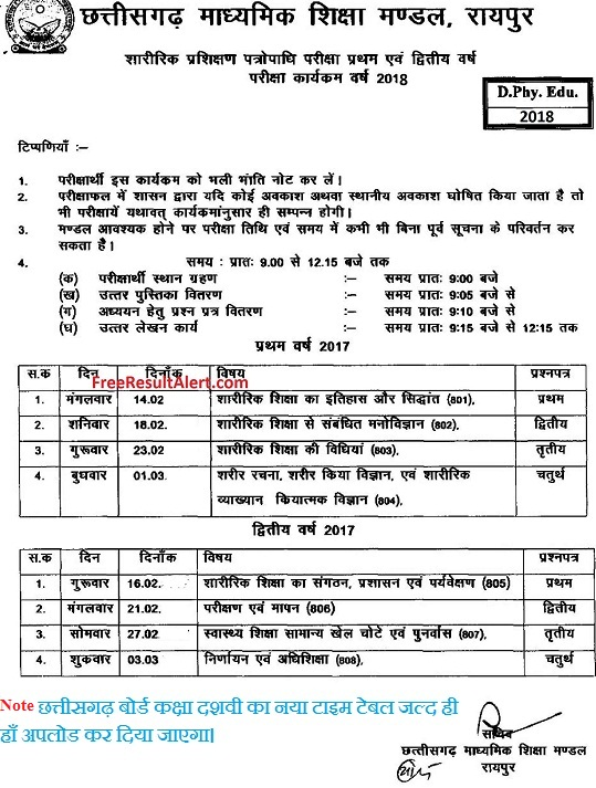 CG Board 10th Time Table 2019