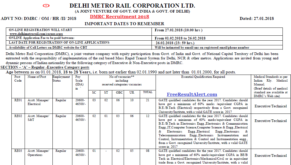 DMRC Recruitment 2018
