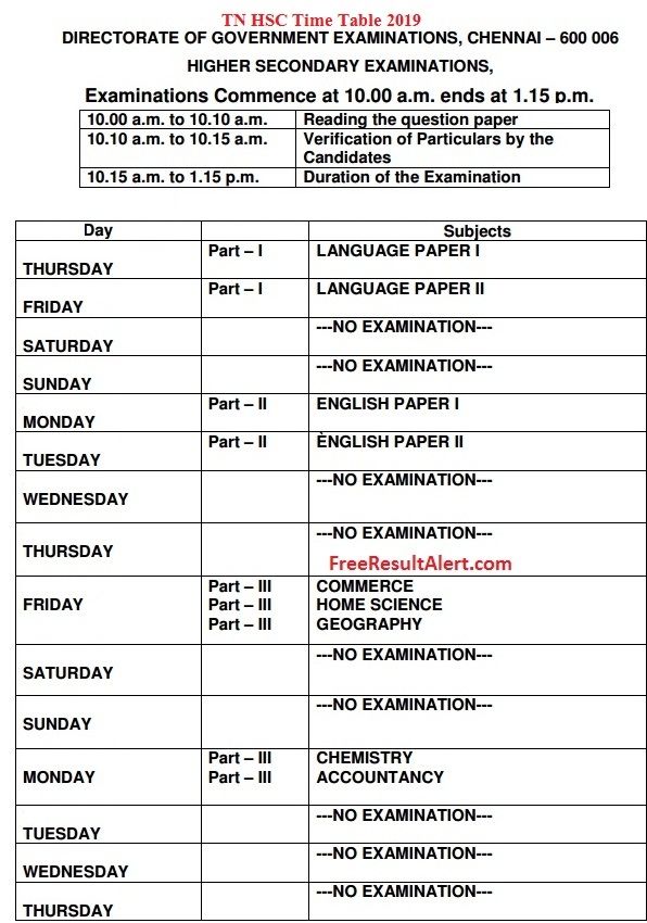 TN HSC Time Table 2019