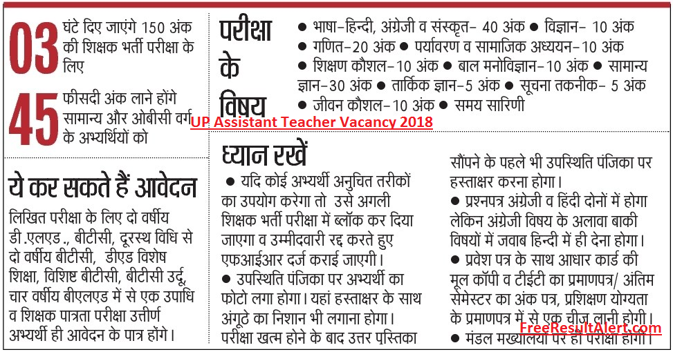 UP Assistant Teacher Vacancy 2018