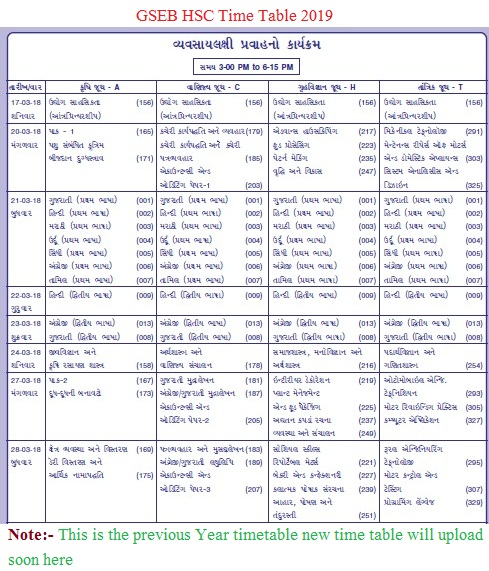 gseb.org-time-table-2019
