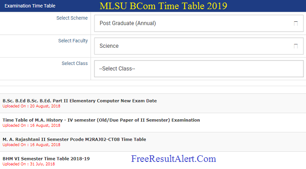 MLSU BCom Time Table 2019