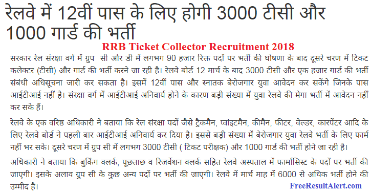 RRB Ticket Collector Recruitment 2018