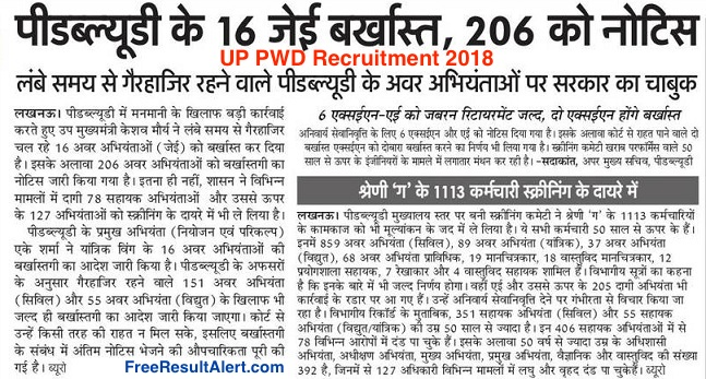 UP PWD Recruitment 2018