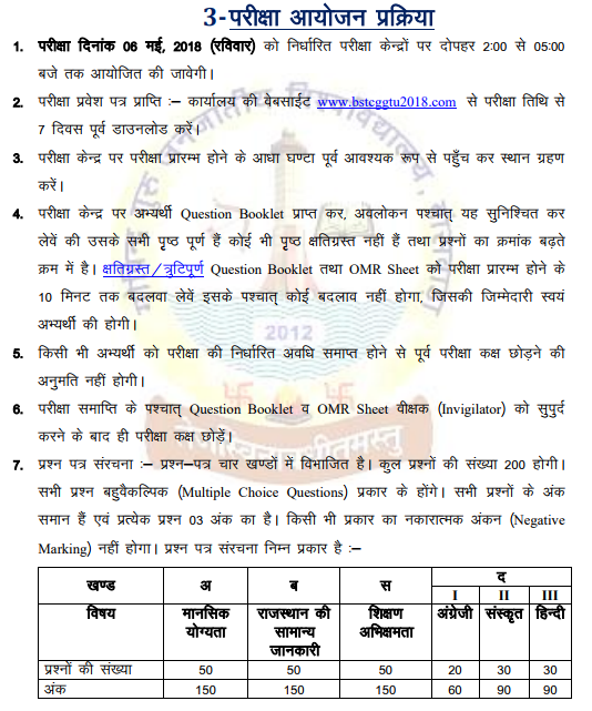 bstc 2018 exam date