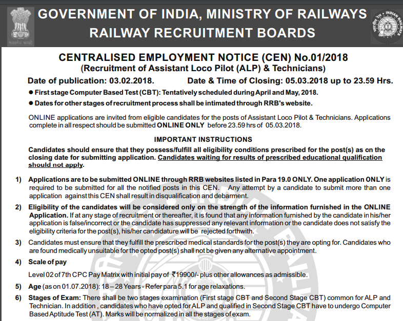 rrb alp notification 2018