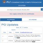 AU Degree 3rd Semester Results 2018