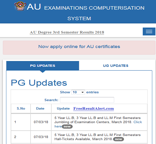 AU Degree 3rd Semester Results Nov 2018