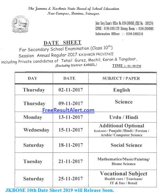 JKBOSE 10th Date Sheet 2019