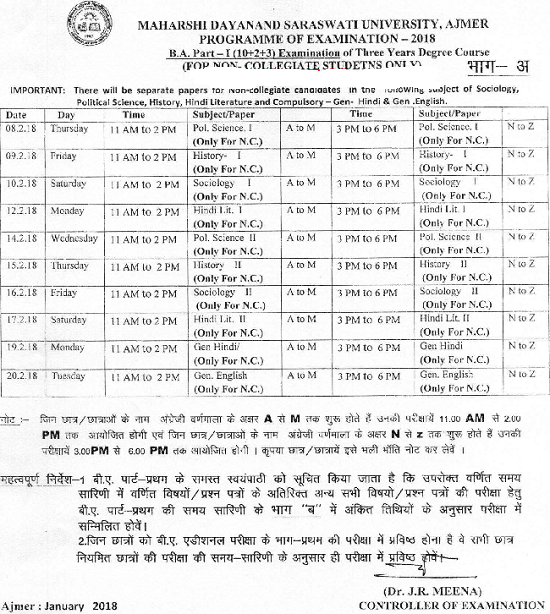 MDSU Time Table 2019