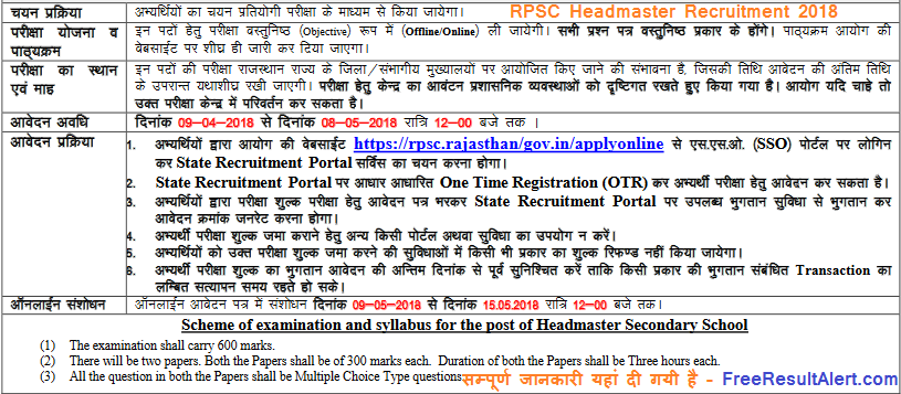 RPSC Headmaster Recruitment 2018
