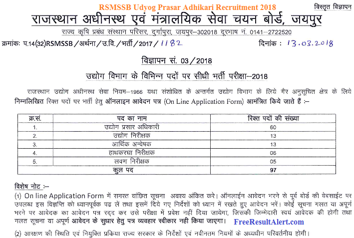 RSMSSB Udyog Prasar Adhikari Recruitment 2018