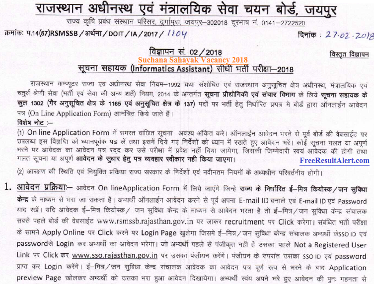 Suchana Sahayak Vacancy 2018
