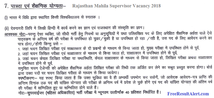 rajasthan mahila supervisor vacancy 2018
