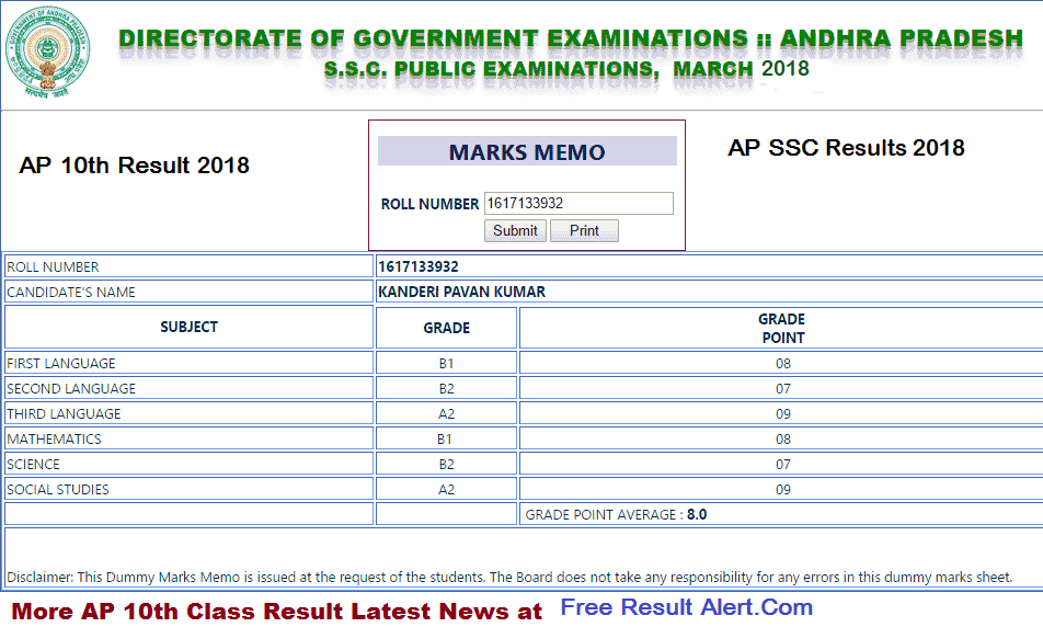 Andhra Jyothi SSC Results 2018