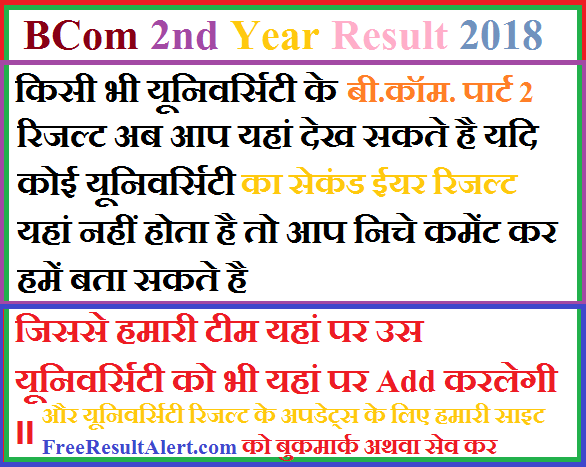 BCom 2nd Year Result 2018