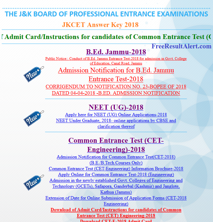 JKCET Answer Key 2018