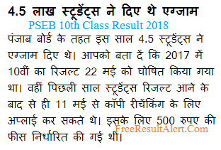 PSEB 10th Class Result 2018
