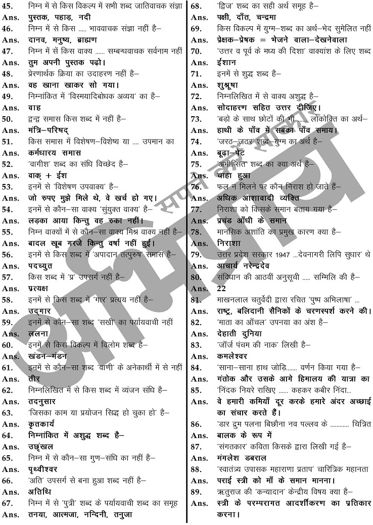 RPSC 2nd Grade Hindi Answer Key 2018