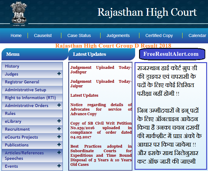 Rajasthan High Court Group D Result 2018