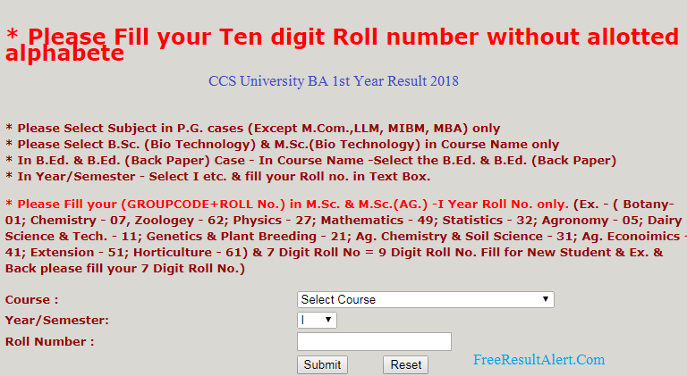 CCS University BA 1st Year Result 2018