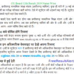 CG Board 12th Result 2019 Name Wise