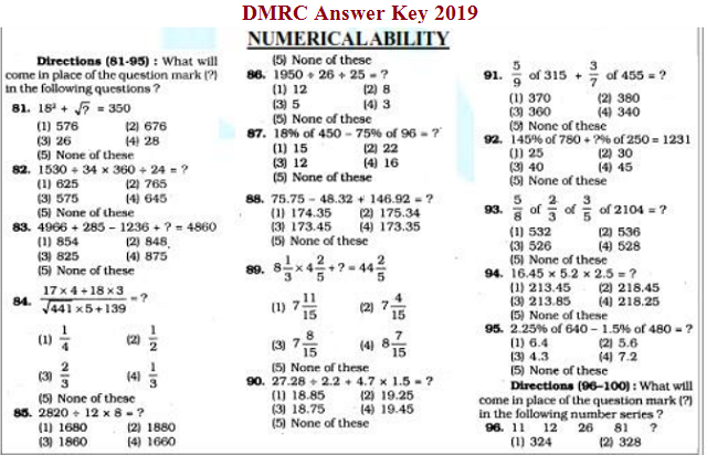 DMRC Answer key 2019