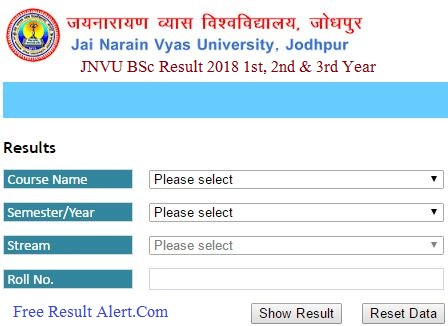 JNVU BSc Result 2018 1st, 2nd & 3rd Year